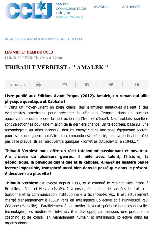 Amalek - Interview au CCLJ 25 février 2013