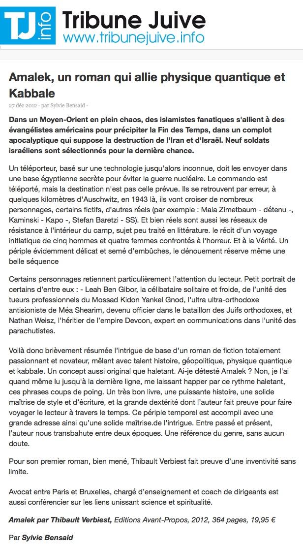 Amalek - Tribune Juive, le 27 décembre 2012