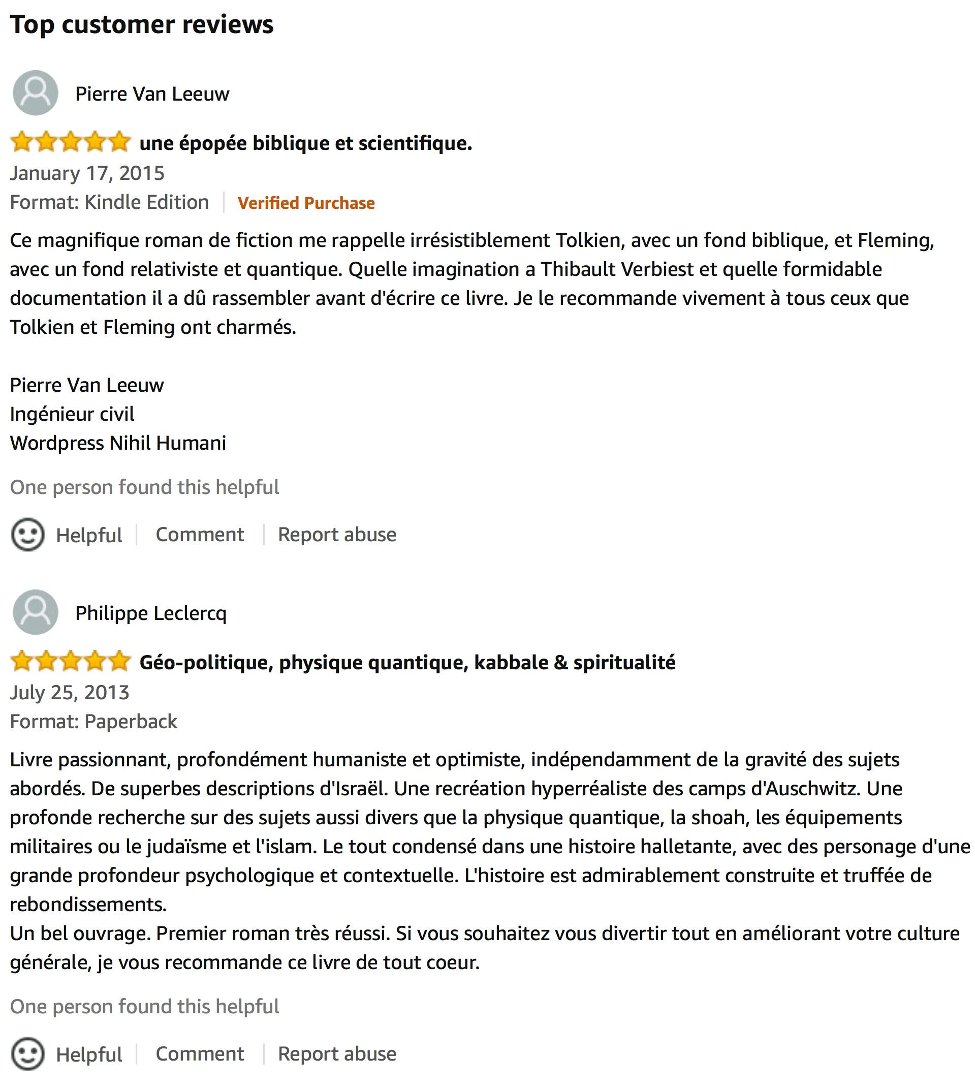 Commentaires sur amazon.com à propos d'Amalek version française