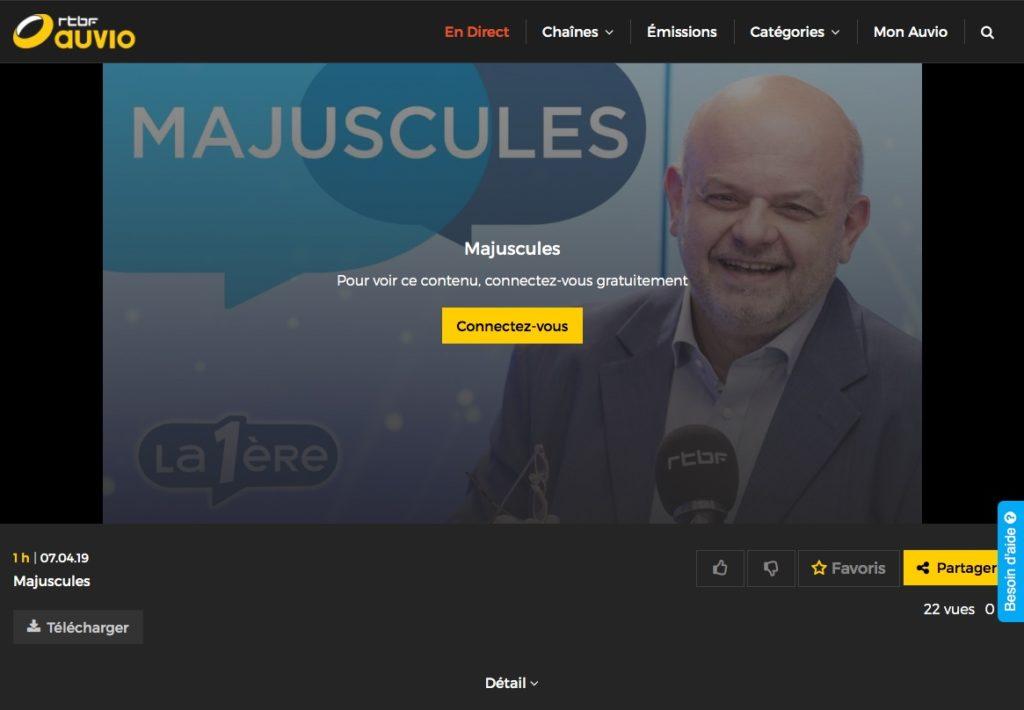 Mon interview dans l'émission Majuscules de la RTBF le 7 avril 2019